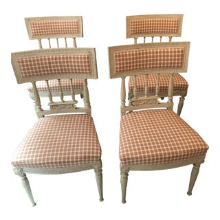 White Painted Swedish Antique Dining Chairs - Set of 4 For Sale