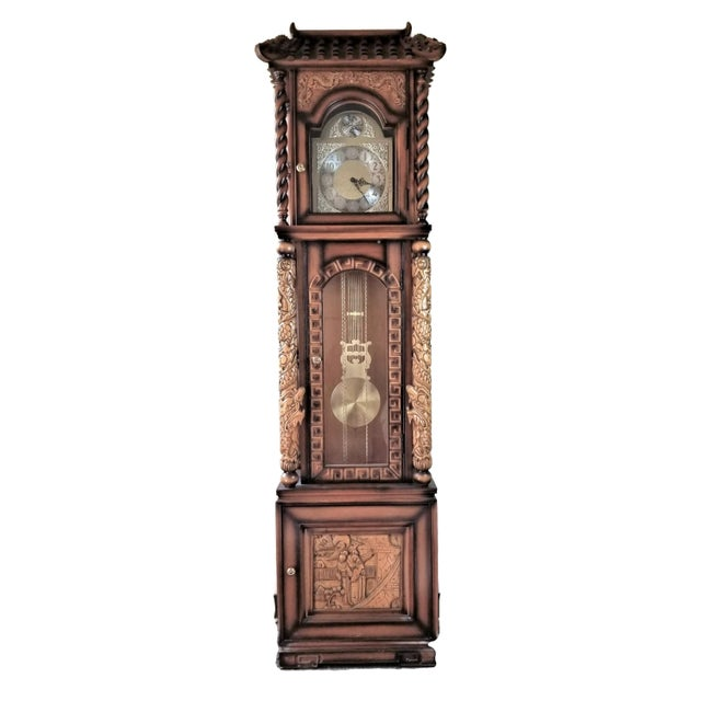 1970s Vintage Chinese Highly Carved Tempus Fugit Grandfather Clock For Sale - Image 12 of 12
