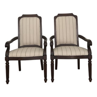 Drexel Heritage British Accents Dining Arm Chairs - a Pair For Sale