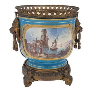 Antique Sévres Ormolu Mounted Porcelain Cachepot For Sale