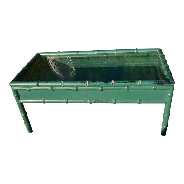 Vintage Hunter Green Faux-Bamboo Coffee Table For Sale