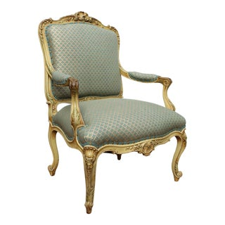 19th C. Louis XV Style Fauteuil Arm Chair Fortuny Frabric Mint Condition For Sale