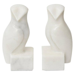 White Marble Owl Bookends - a Pair For Sale