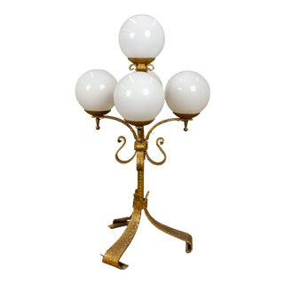 Spanish Gilt Iron Candelabra Lamp With Glass Globes