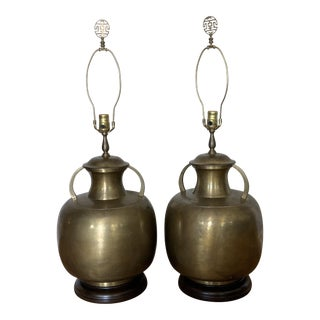 Vintage 1970s Asian Brass Lamps - a Pair For Sale