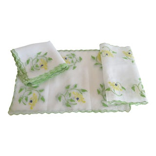Vintage Organdy Embroidered Mats, Napkins and Runners - 8 Place Settings For Sale