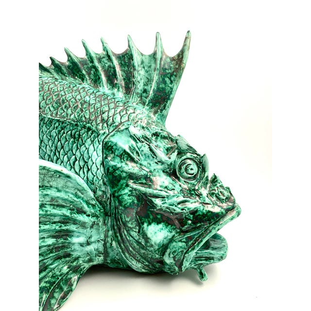 """1934 Guido Cacciapuoti """"Pesce Scorfano"""" Sculpture in Glazed Green Earthenware Signed and Dated For Sale - Image 4 of 13"""