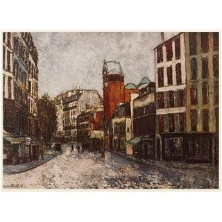 "1950s M. Utrillo ""Paris, Rue Des Abbesses"", First Edition Period Impressionist Lithograph For Sale"
