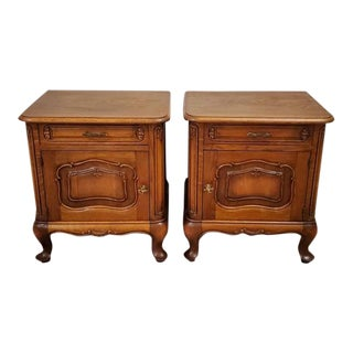 19th Century French Provincial Arts and Crafts Bedside Tables - a Pair For Sale
