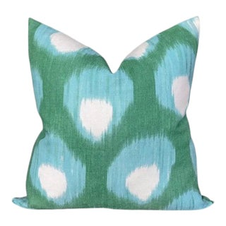Peter Dunham Large Bukhara Outdoor Pillow Cover, Blue/Green For Sale