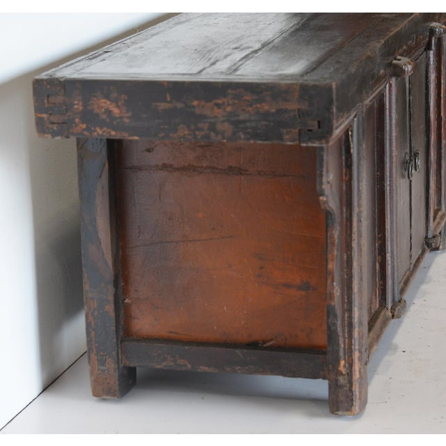 Vintage Rustic Chinese Low Media Cabinet For Sale - Image 4 of 10