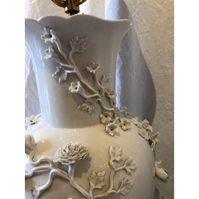 Ceramic Pair of Large Chinese Blanc De Chine Porcelain Vase Lamps, Applied Flowers For Sale - Image 7 of 11