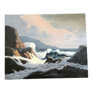 Original Vintage Modernist Seascape Painting Signed For Sale