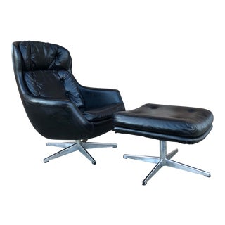 1970s Vintage Selig Imperial Black Egg Lounge Chair and Ottoman For Sale