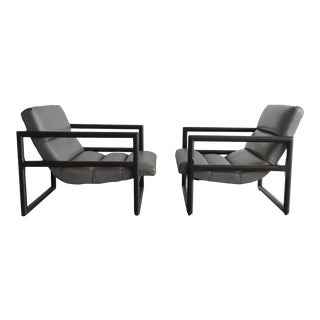 Gray Leather Vintage Milo Baughman Style Scoop Lounge Chairs - A Pair For Sale