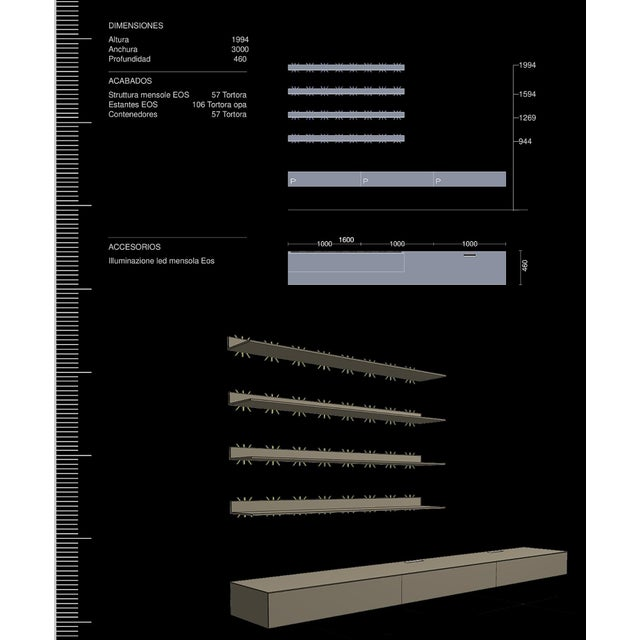Rimadesio Abacus Wall Unit Shelves Drawers - Four Lighted Shelves And Three Touch Latch Drawers - Image 8 of 10