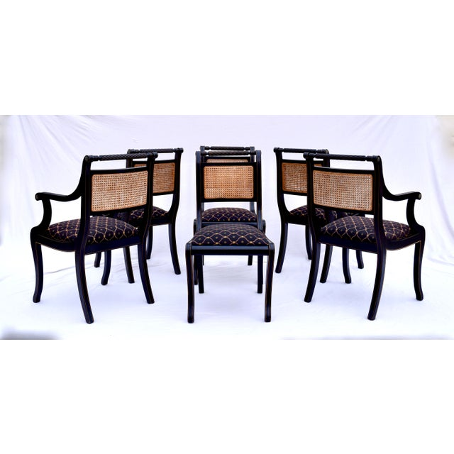 Regency Double Caned Dining Chairs Made in Italy, Set of 8 For Sale In Philadelphia - Image 6 of 13
