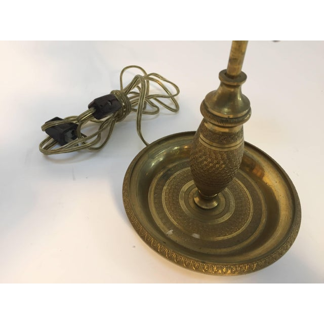 Late 19th Century French Antique Brass Candelabra Converted Into a Table Lamp For Sale - Image 5 of 9
