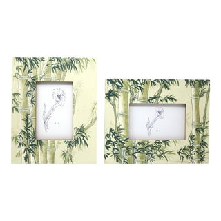 Hand-Painted Bamboo Design Picture Frames - Set of 2 For Sale