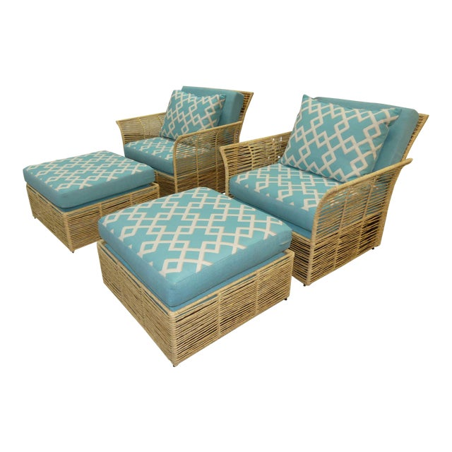 Boho Chic Twisted Raffia Lounge Chairs With Ottomans- a Pair For Sale
