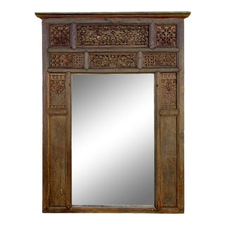 Large Antique Indian Carved Window Frame Mirror For Sale