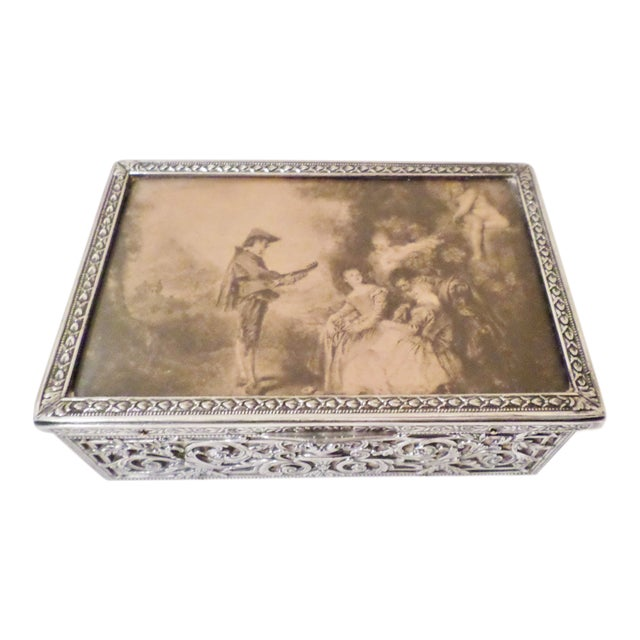 Antique Baroque Sterling Silver Music Box Trinket Box For Sale