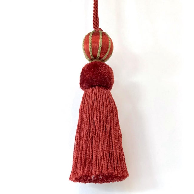 """Red Red Beaded Key Tassel - H 4.75"""" For Sale - Image 8 of 9"""