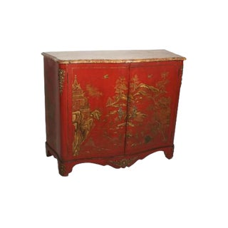 Maison Jansen Chinoiserie Red Japanned Side Cabinet With Marble Top For Sale