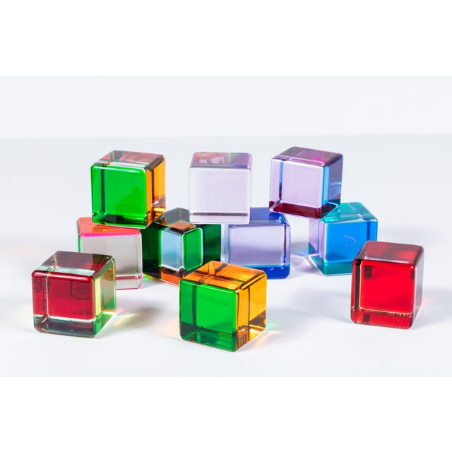 Modern Set of 10 Colored Lucite Cubes by Vasa Mihich For Sale - Image 3 of 8