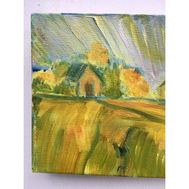 Abstract Abstract Bucolic Countryside Oil Painting For Sale - Image 3 of 6