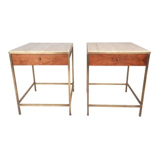 Vintage Modern Paul Mccobb Style Marble Top End Tables - a Pair