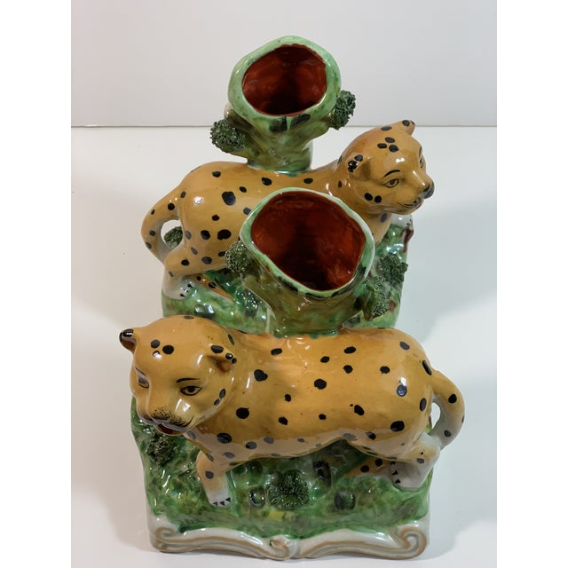 Ceramic Vintage Staffordshire Style Leopard Spill Vases - a Pair For Sale - Image 7 of 11