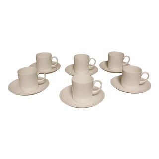 Wedgwood/Susie Cooper Design White Demitasse Tea Cups & Saucers - Service for 6 For Sale