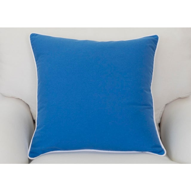 """Paradise Collection Blue Pillow Cover . With Zipper . White Contrast Welt . 22"""" X 22"""" - Image 5 of 8"""