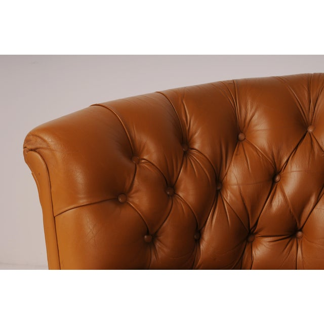 1960s Tufted Swivel Chairs in Carmel Leather by Nicos Zographos - A Pair For Sale - Image 5 of 12