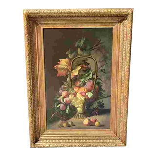 Mid 19th C. Belgian Still Life Oil Painting For Sale