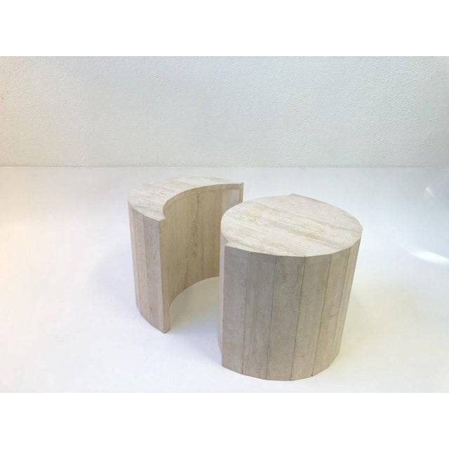 Oval Italian Travertine Cocktail Table by Willy Rizzo For Sale - Image 10 of 11