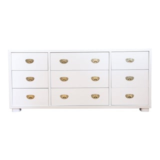 Drexel Mid-Century White Campaign Dresser For Sale