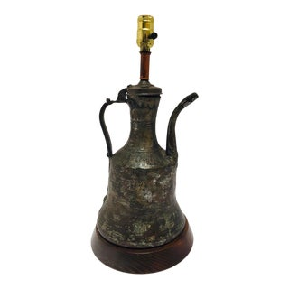 19th Century Middle Eastern Dallah Arabic Copper Coffee Pot Table Lamp For Sale