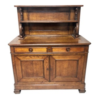 1860's Antique Louis Phillippe French Oak Cupboard For Sale