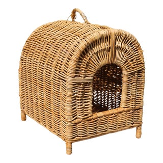 Vintage Rattan Wicker Bamboo Dog or Cat Bed For Sale