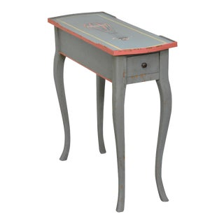 French Louis XV Style Hand Painted Narrow 1 Drawer Side Table w/ Hot Air Balloon For Sale