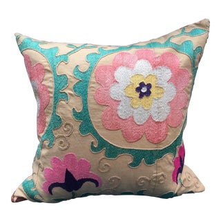 Embroidered Suzani Pillow For Sale