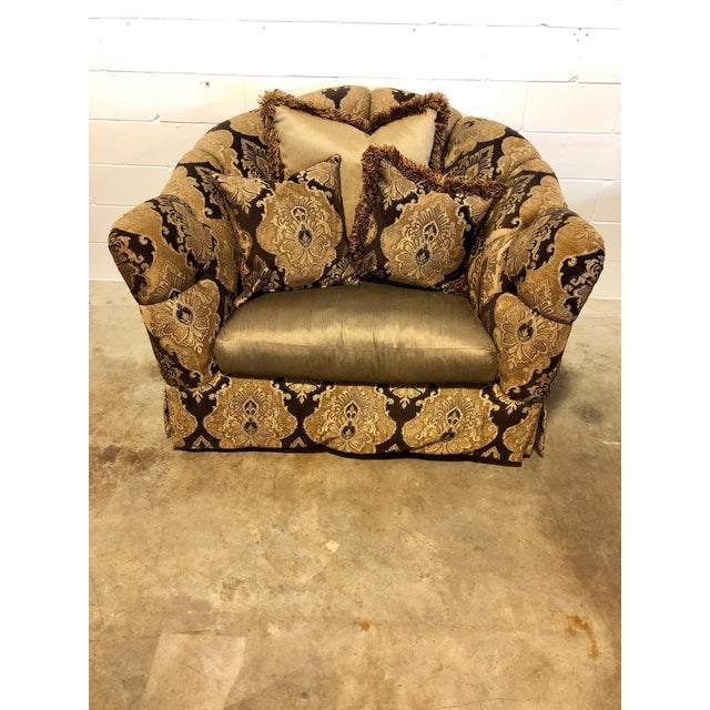 Hollywood Regency Marge Carson Veronica Chair & Ottoman Sets - A Pair For Sale - Image 3 of 8