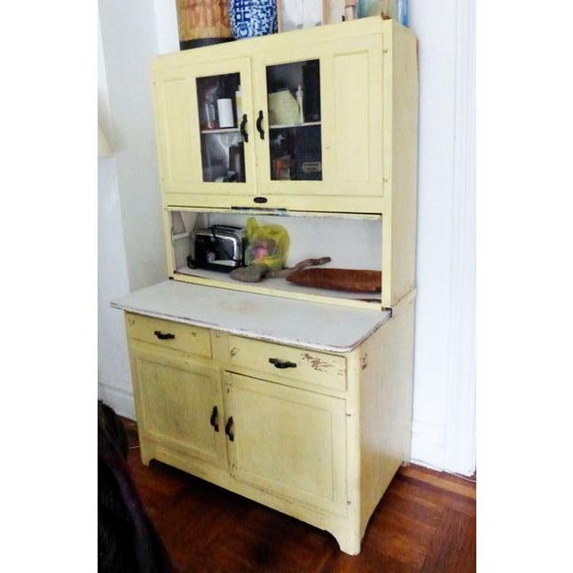 Cottage Vintage Farmhouse 2-Piece Painted Hoosier Cabinet For Sale - Image 3 of 8