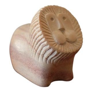 Vintage Kenyan Hand Carved Lion Figurine