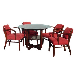 Vintage Chinoiserie Asian Blackwood Dining Table and Four Chairs W Coa Certificate For Sale
