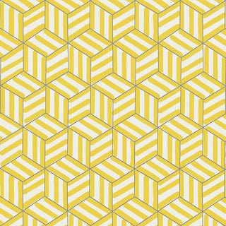 Sample - Schumacher Tumbling Blocks Geometric Stripes Wallpaper in Citron Yellow For Sale