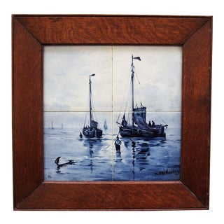 Antique Nautical Delft Tile Plaque For Sale
