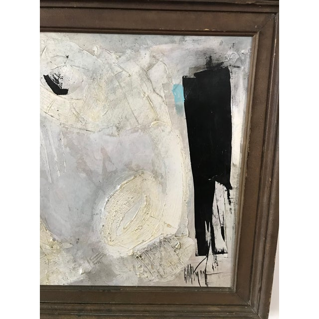 1960s Vintage Graham Harmon Black and White Abstract Painting For Sale - Image 4 of 8
